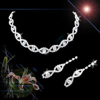 Women Girls Wedding Bridal Bridemaid Crystal Necklace Earring Jewelry = 1932199748