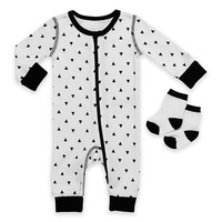 Boppy® 2-Piece Triangle Print Coverall and Sock Set in White/Black