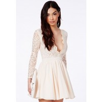 Missguided - Dayana Nude Lace Sleeve Puff Ball Dress