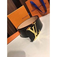 LV Louis Vuitton 2018 new men and women simple patent leather smooth buckle belt Black