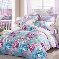 LOVO Luxury Vanilla Sky 100% Cotton 300TC Bedding Sheet Set Duvet Cover 4 pcs With 2 Pillowcases Multi-colored QUEEN