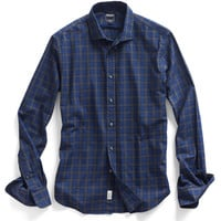 Dress Shirt in Blue Check Heather Plaid