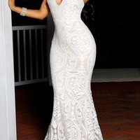 White Floral Lace Cut Out Halter Neck Prom Evening Party Maxi Dress