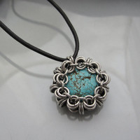 Chainmaille Pendant on Faux Leather cord with Magnesite Turquoise Bead