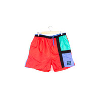 90s COLORBLOCK SWIM TRUNKS / vintage 1990s swimwear / short board shorts / color block / pipeline / surf surfer beach / retro / mens large