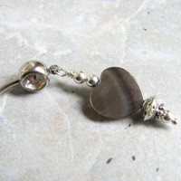 Grey Mother of Pearl Heart Belly Button Piercing Ring