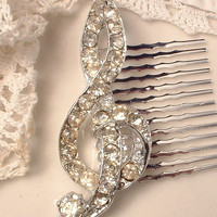 Vintage Clear Rhinestone Musical Note Bridal Hair Comb, Heirloom Crystal Encrusted Silver Treble Clef Brooch to OOAK Hair Comb