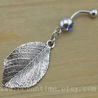 leaf Belly Button Rings,leaf Navel Jewelry,leaf belly button ring, nature belly ring,summer jewelry