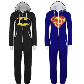 New Unisex Womens Men Batman and Superman Print Hooded Zip Front Jumpsuit Onesuit