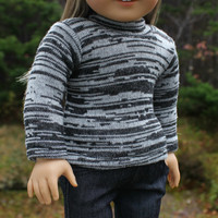18 inch doll clothes, black & grey mix sweater,  crochet beanie hat with flower, denim skinny jeans, american girl ,maplelea