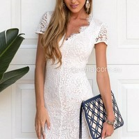 *Willow Lace Dress (White/Nude) | Xenia Boutique | Women's fashion for Less - Fast Shipping