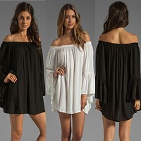 Off Shoulder Bell Sleeve Chiffon Ruffled Mini Dress - White/Black