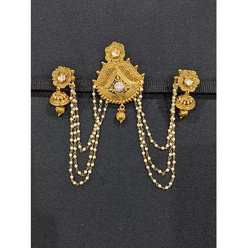 Gold plated Clip on Hair Clip with Earrings