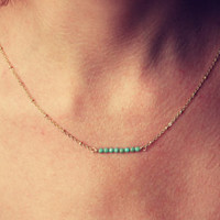 Turquoise faceted fire polished beads on a 14k gold fill chain, simple gold necklace