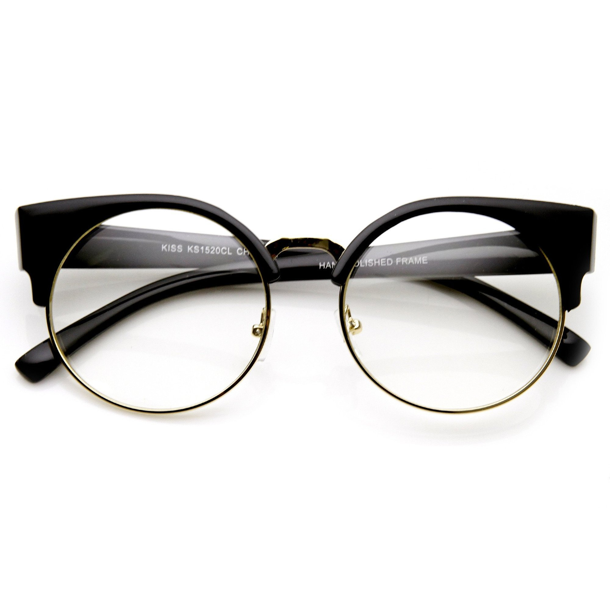 Image of Indie Hipster Round Cat Eye Clear Lens Half Frame Glasses 9351