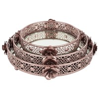 3-Piece Round Floral Mirror-Top Decorative Tray Set (Rose Gold)