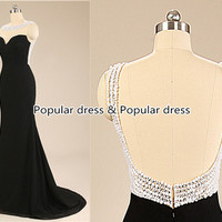 Black Mermaid Prom Dress/Backless Beaded Prom Dress/Charming Affordable Long Prom Dress/Sexy Prom Dress/Black Homecoming Dress/A073