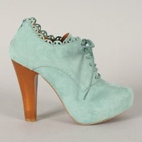 Qupid Puffin-34 Blush Mint Lace Up Oxford Ankle Bootie