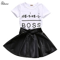 2pcs Cute Baby Girl Kids MIni Boss Letter Short Sleeve T-shirt Tops Faux Leather Mini Skirts Outfits Set 1-6Y