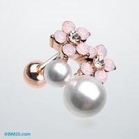 Rose Gold Flora Opalite Pearl Cluster Cartilage Tragus Barbell