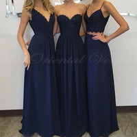 Vestidos de madrinha 2017 Fashion Navy Blue Bridesmaid Dress 3 Styles Long Formal Gowns For Wedding Party Brides Maid Dresses