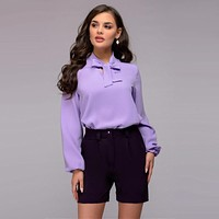 Women Casual Bow Tie Solid Blouse Autumn New Fashion Stand Collar Long Sleeve Tops Elegant Shirts