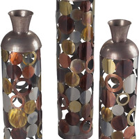 """0-014514>36""""h Set of 3 Lacquered Floor Standing Vases Silver/Gold/Copper/Bronze"""