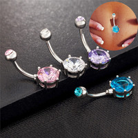 Crystal Ball Piercing Belly Button Navel Ring