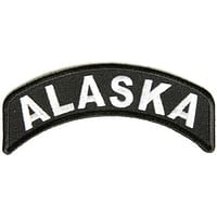 Alaska State White on Black Small Rocker Patch Front for Biker Jacket Vest