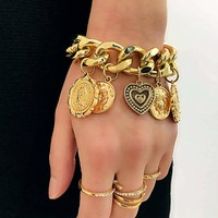 Disc Charm Chain Bracelet 1pc