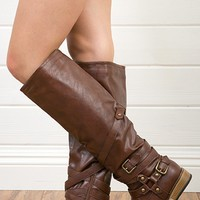 Bamboo Parksville10 Brown Multi Buckle/Harness Riding Boots and Shop Boots at MakeMeChic.com
