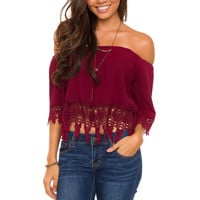 Rare Beauty Lace Top - Burgundy