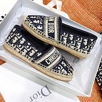DIOR Retro Fashion Women Casual Canvas Flat Single Shoes Fisherman Shoes