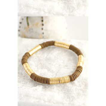 Gold and brown beads stretchy bracelet
