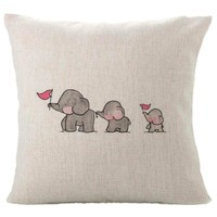 Fashion  2018 Pillow Three Baby Elephants Print Home Decor Linen Blend Pillow Cover Cute Animal Bed Room Pillow Covers 45 * 45cm