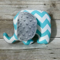 Aqua & gray baby elephant plushie - baby stuffed animal - chevron blue gray elephant nursery decor