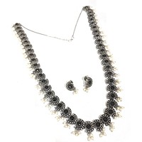 Oxidized silver cut circle design long haram with pearl cluster necklace and stud earring set