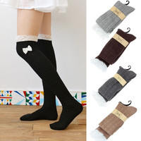Women Lace Knot Knit Knee Boot Cotton Thigh High Socks Lot Leg Warmer = 1958375556