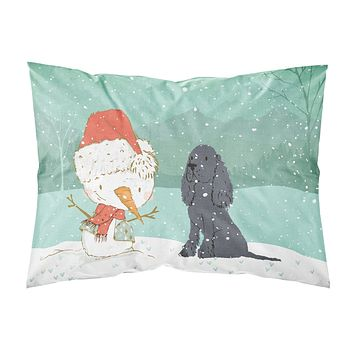 Black Spaniel Snowman Christmas Fabric Standard Pillowcase CK2070PILLOWCASE
