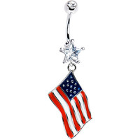 USA American Flag Dangle Belly Ring | Body Candy Body Jewelry