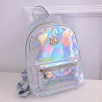 2016 hot selling Hologram Backpack For School Student Women's Laser Silver Color Holographic Bag Masculina backpack Multicolor