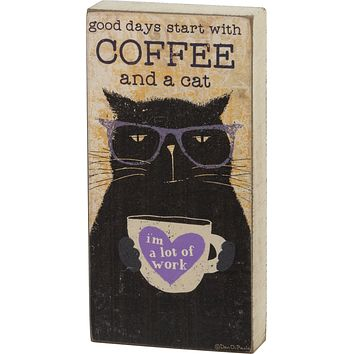 """Good Days Start With Coffee And A Cat Wooden Block Sign   Pets, Cats   3"""" x 6"""""""