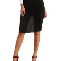 Pleated Chiffon Midi Skirt by Charlotte Russe