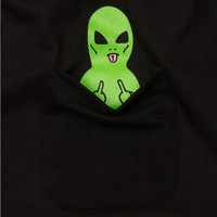 Green Alien Pocket Women T shirt  Summer Tee Harajuku Women Tops Fashion Casual Black White