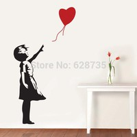 Banksy Wall Decal Balloon Girl Inspired - Banksy Vinyl Wall Art Sticker free shipping A2064