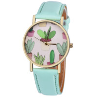 Cactus Print Mint Leather Watch