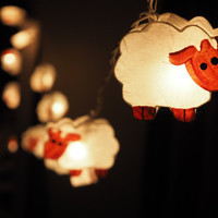 SALE Super Cute White Sheep  Fairy String Light - 20 Sheep Lights Fairy lights Party Decor Wedding Garden Spa and Holiday Lighting