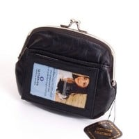 New Leather Womens Wallet Metal Frame Zippered Coin Purse ID WIndow Card Case