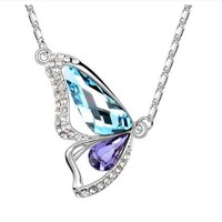 Adored 18k White Gold Plated Blue and Purple Swarovski Austrian Crystal the Butterfly of Liberty Pendant Necklace Fashion Jewelry Gift for Woman