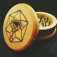 Wood burned herb grinder - Eye of God -